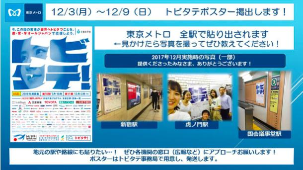東京メトロ全駅でトビタテポスター!
